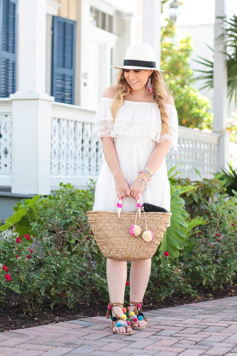 Miami fashion blogger Stephanie Pernas wearing a Lush off the shoulder dress