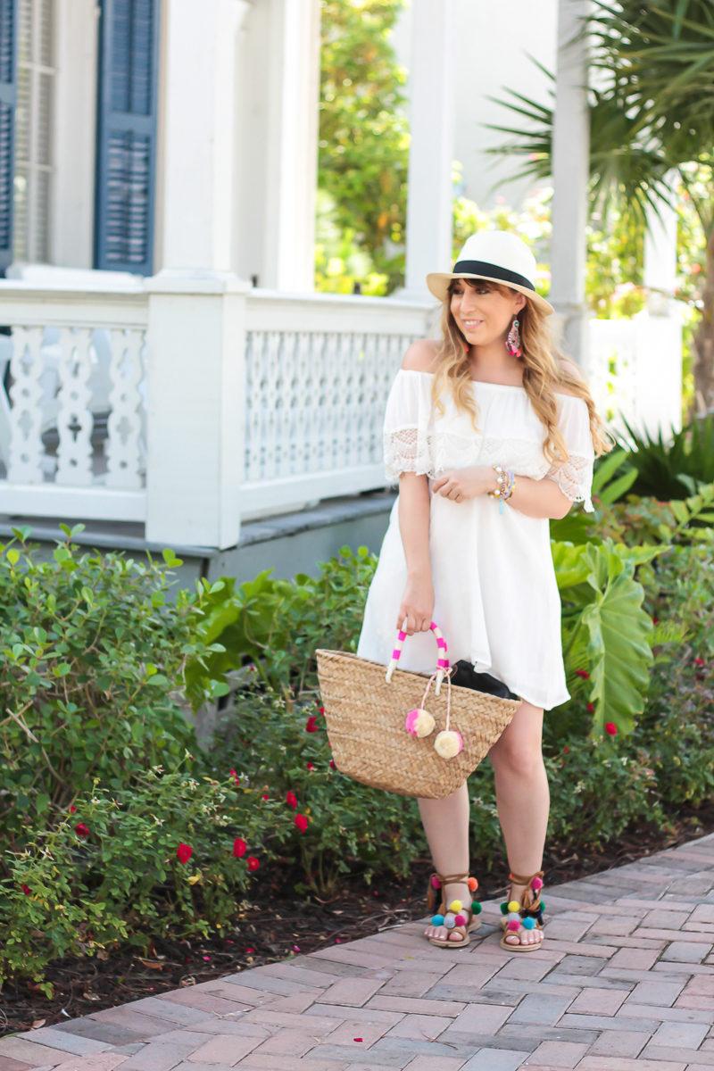 Miami fashion blogger Stephanie Pernas wearing a white lush off the shoulder dress