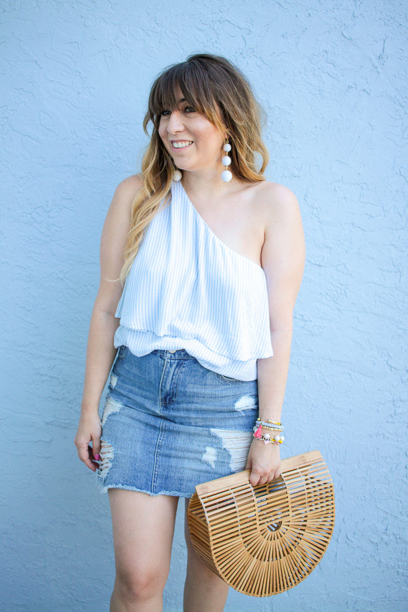 South Florida fashion blogger Stephanie Pernas wearing a BP one shoulder top and denim skirt