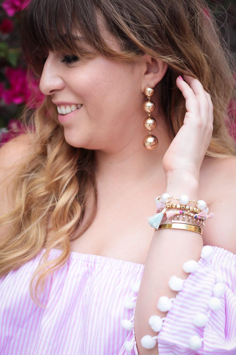 Miami fashion blogger Stephanie Pernas wearing Baublebar Mya Drops earrings
