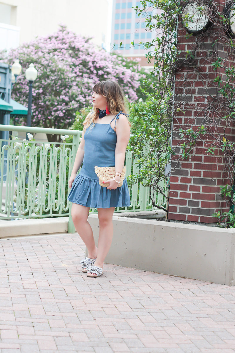 Bandana and chambray dress for july 4th