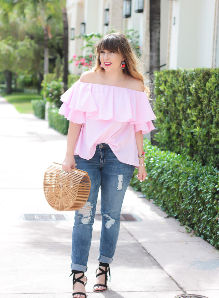 Pink gingham off the shoulder top + skinny jeans outfit