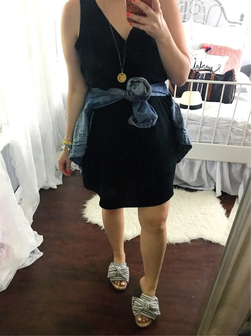 Old Navy black sleeveless shift dress