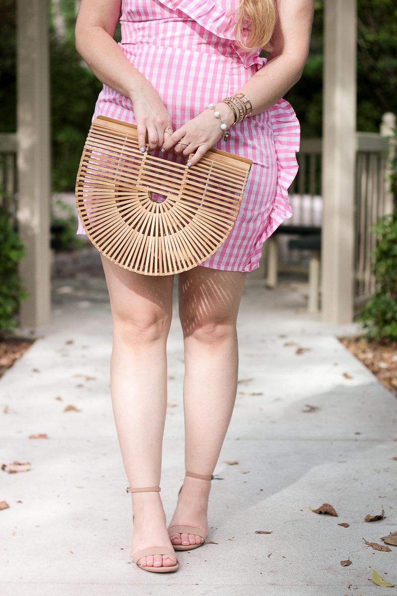Zoe & Grace bamboo bag and nude block heels