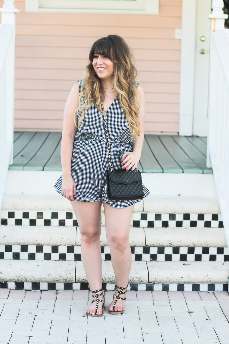 Miami fashion blogger Stephanie Pernas wearing a gingham romper and Rebecca Minkoff Quilted Mini Affair bag