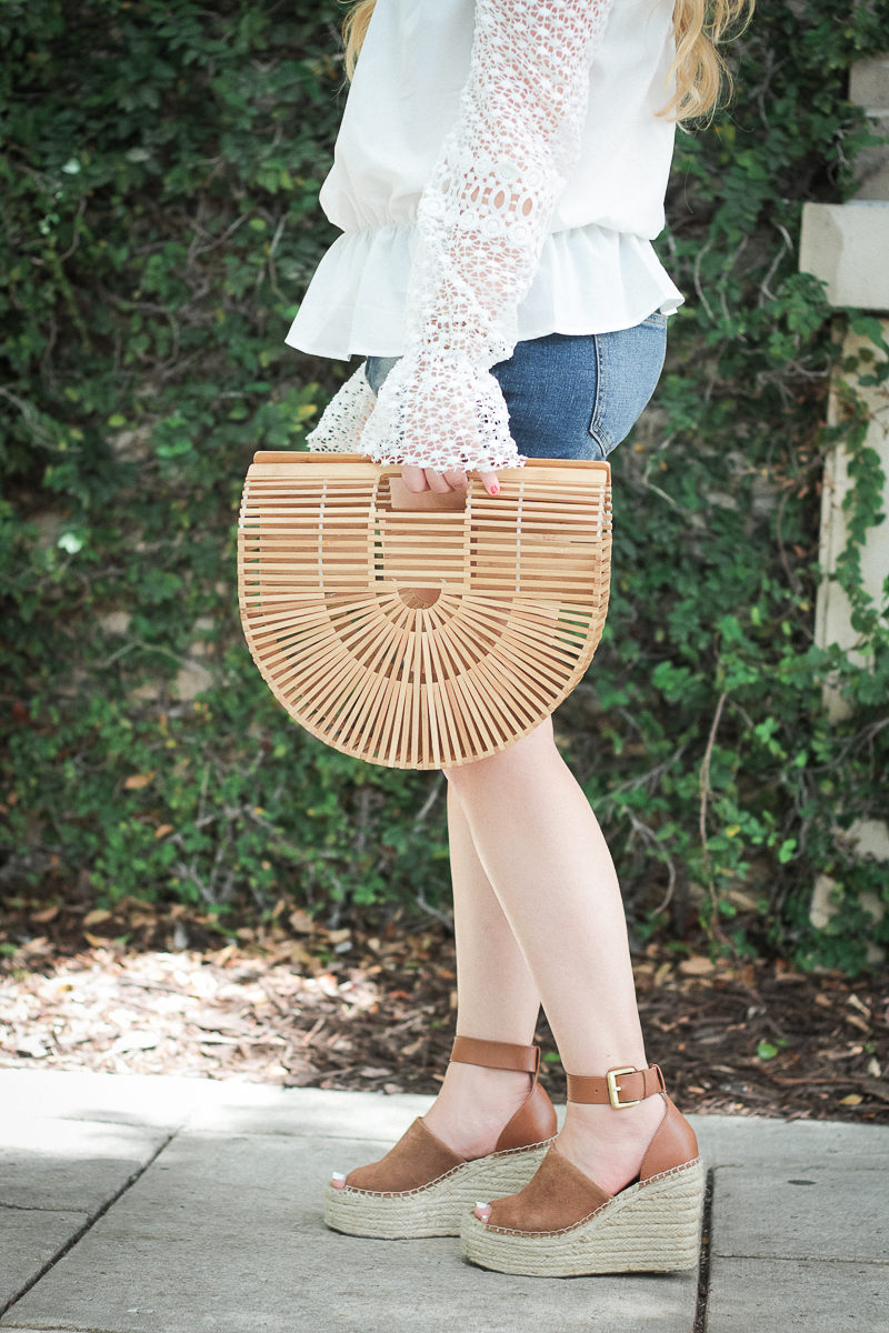 Miami fashion blogger Stephanie Pernas styles a bamboo bag and wedges