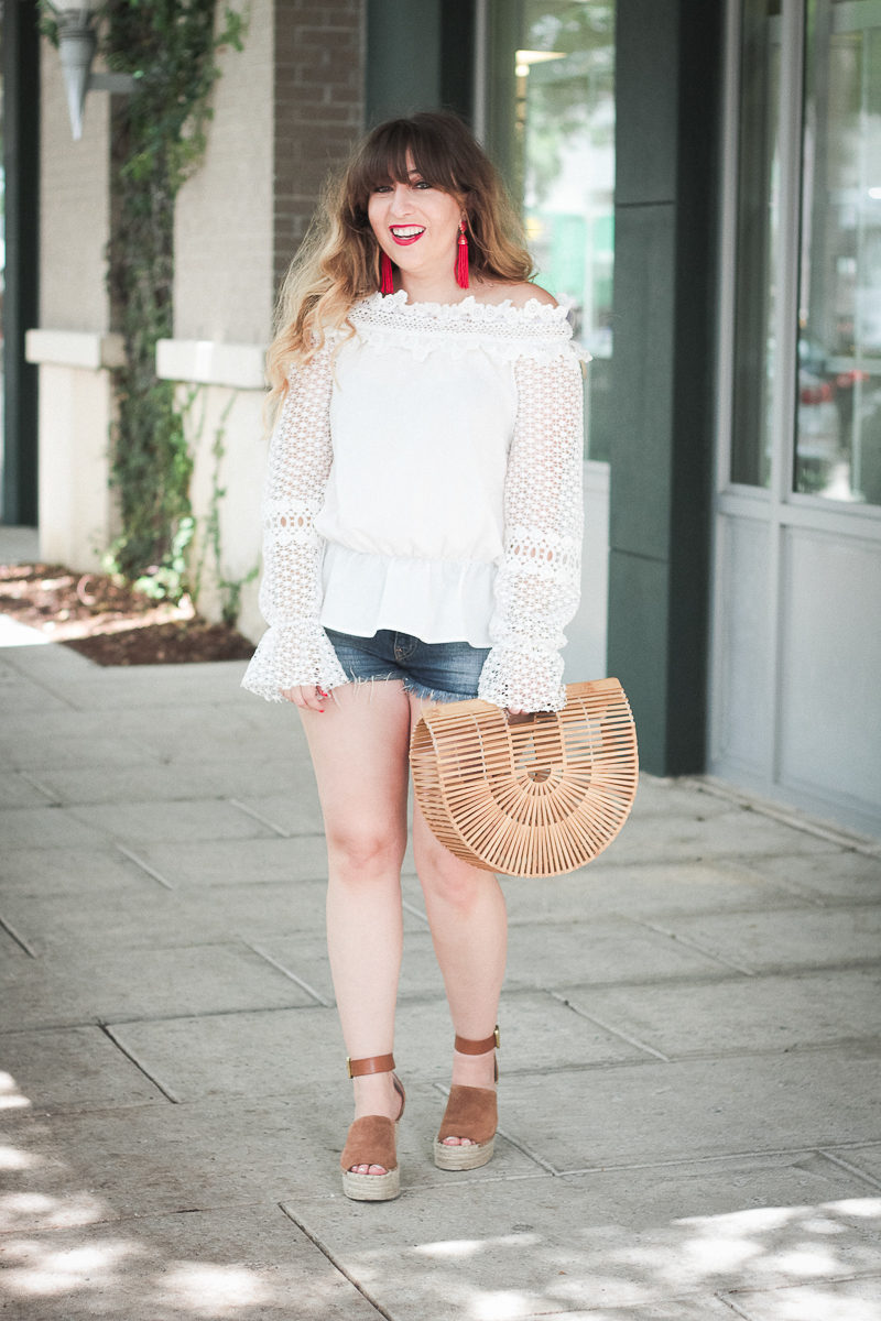 Cute off the shoulder top and jean shorts outfit idea for summer