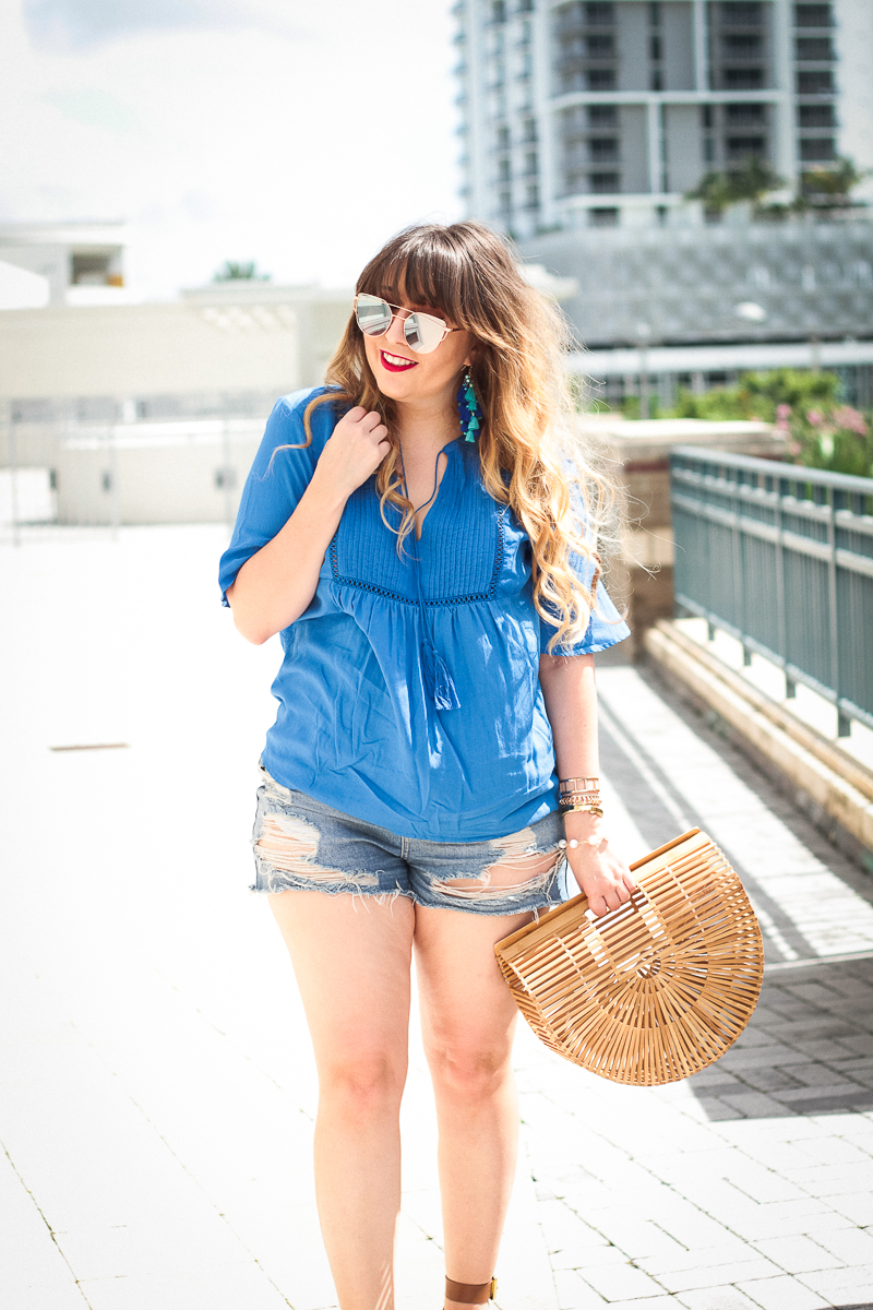 Old Navy swing top + jean shorts-10