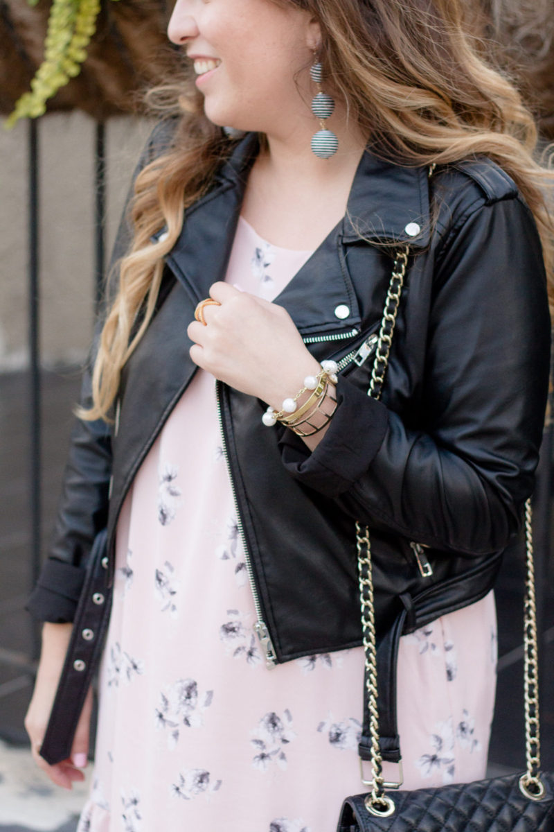 Fashion blogger Stephanie Pernas wearing a Who What Wear faux leather jacket