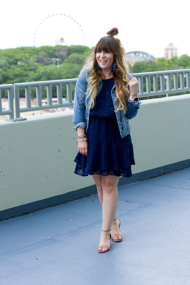 Miami fashion blogger Stephanie Pernas of A Sparkle Factor wearing a Cooper & Ella chiffon dress