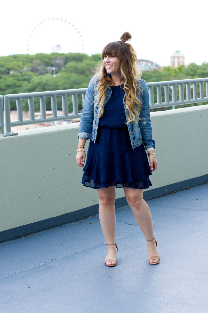 Cute jean jacket and dress outfit