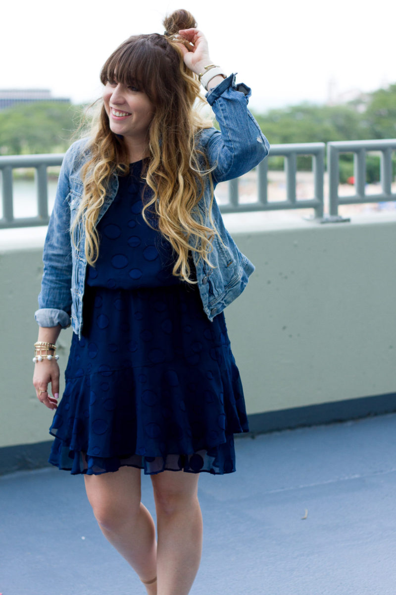 Dress and jean jacket outfit idea