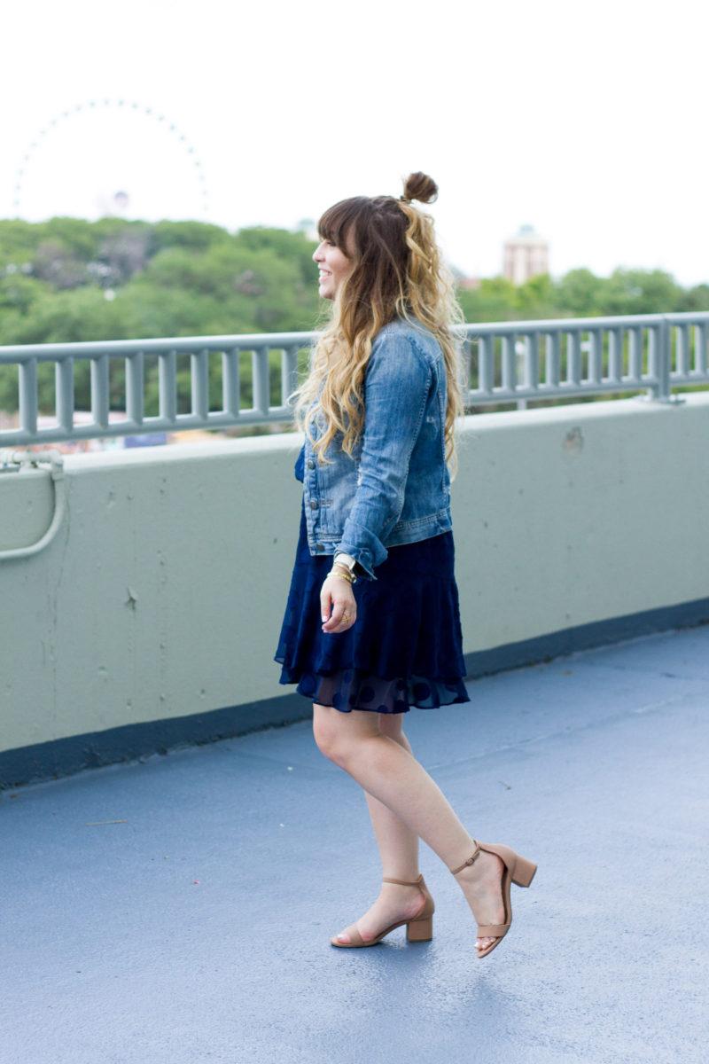 Fashion blogger Stephanie Pernas styles a Cooper & Ella chiffon polka dot dress