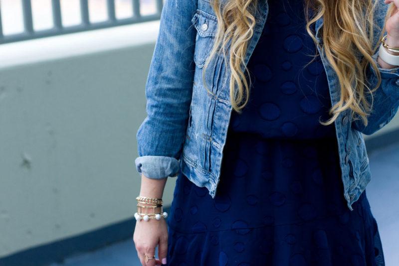 Miami fashion blogger Stephanie Pernas styles a jean jacket with a chiffon dress for summer