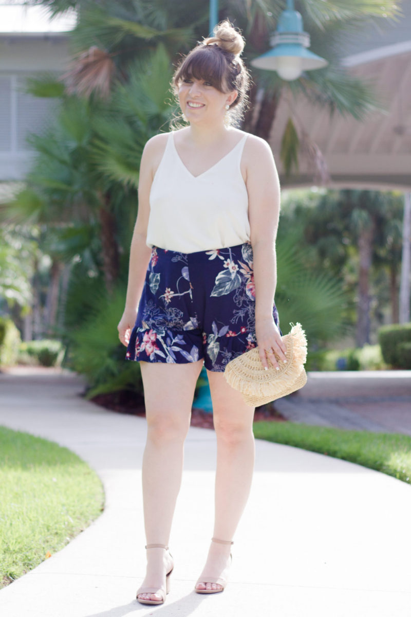 Fashion blogger Stephanie Pernas styles Soprano ruffle shorts and a camisole