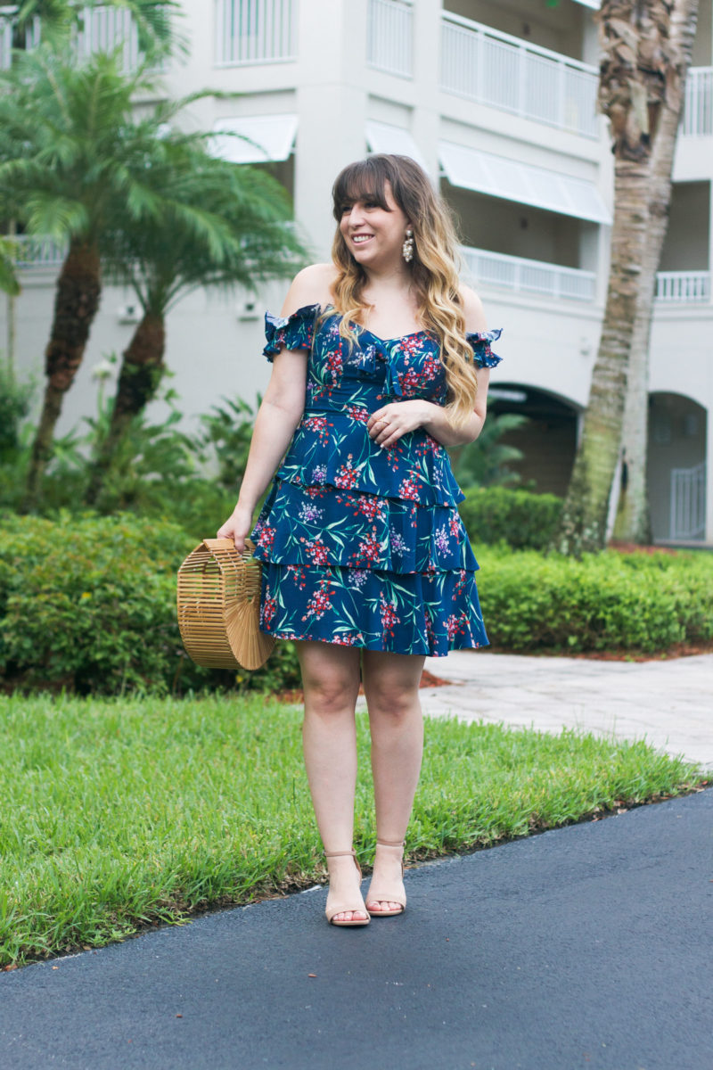 Miami fashion blogger Stephanie Pernas wearing a floral ruffled dress