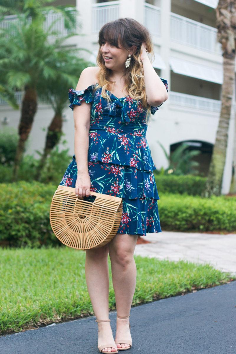 Miami fashion blogger Stephanie Pernas wearing a Wayf off the shoulder dress