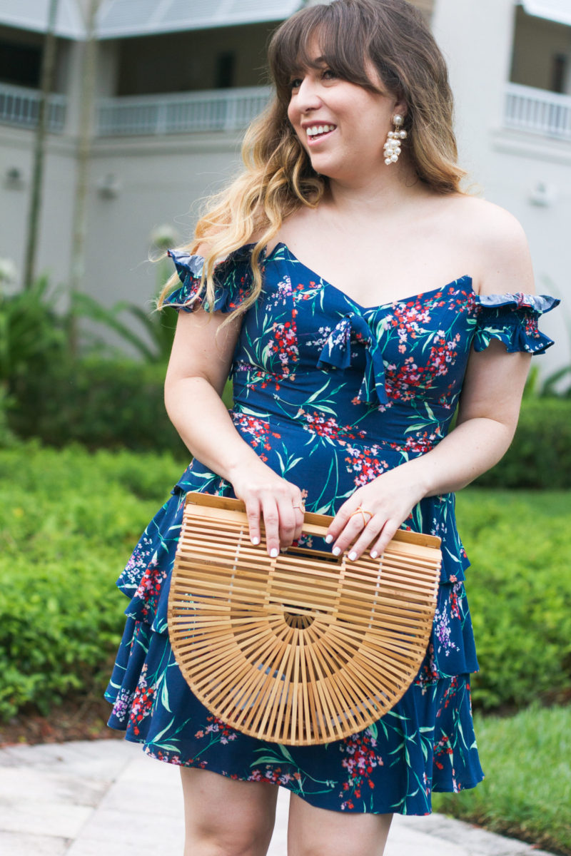 Miami fashion blogger Stephanie Pernas of A Sparkle Factor styles a Wayf dress and Baublebar earrings