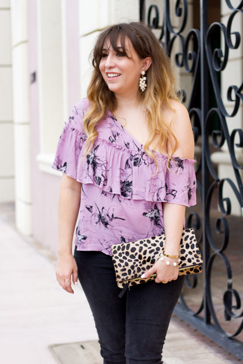 Floral top and leopard clutch