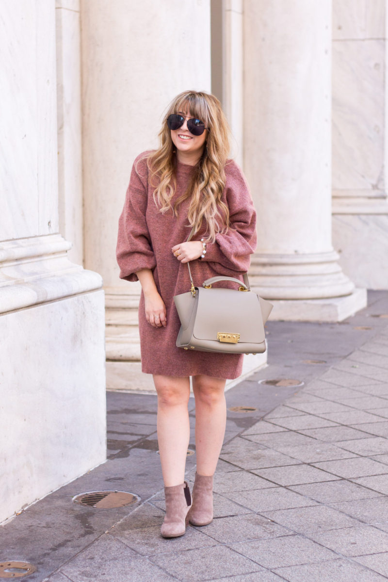 Cute sweaterdress and booties outfit idea