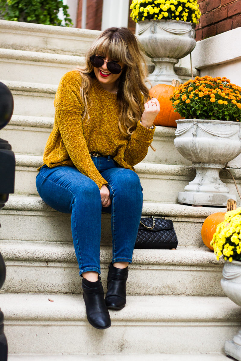 Gold chenille sweater + high waist jeans outfit for fall