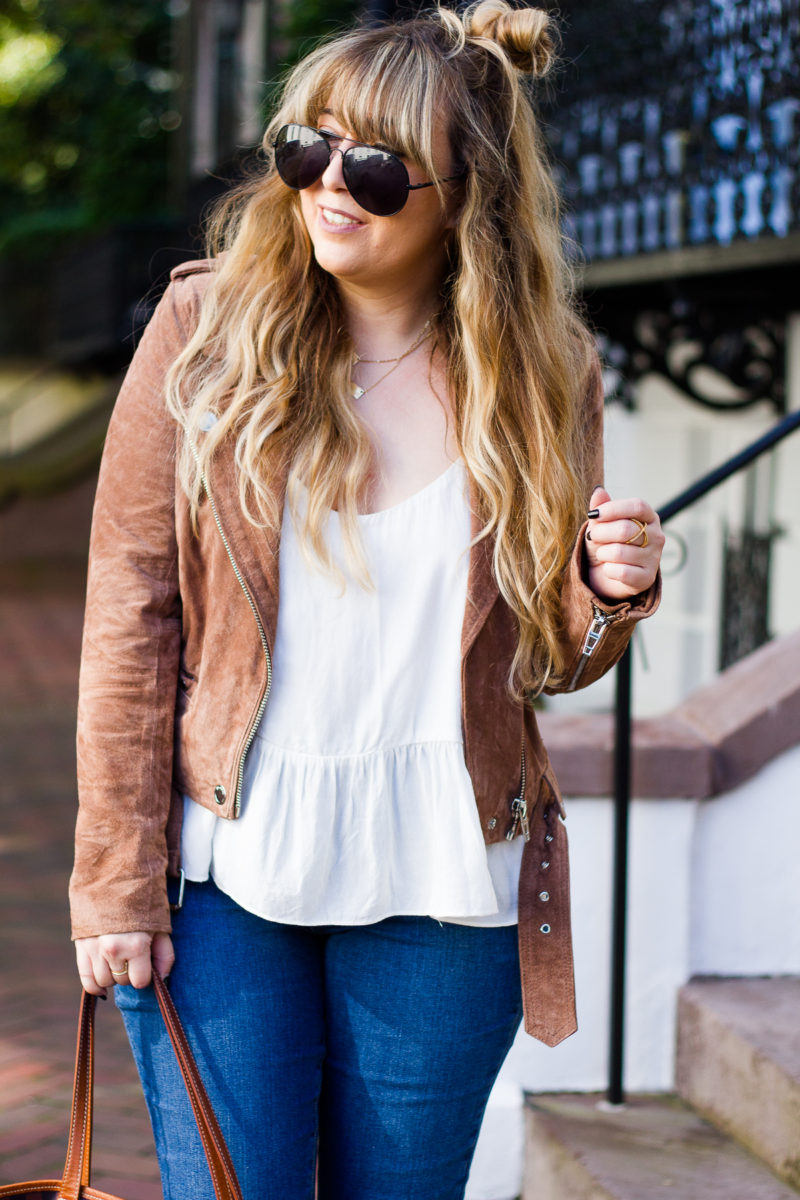 Moto jacket and peplum top outfit