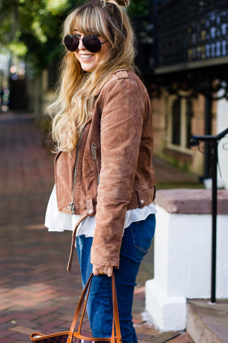 Cute suede biker jacket for fall
