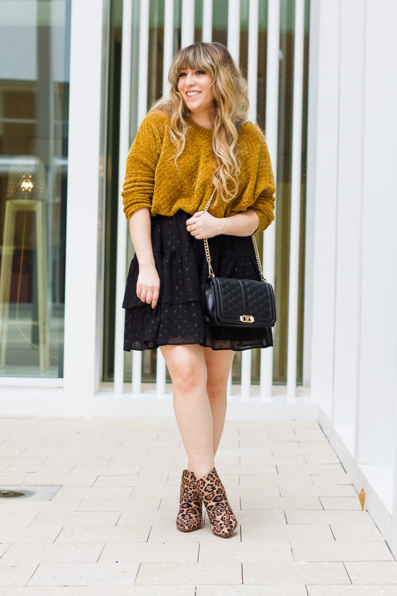 Cozy sweater and skirt outfit idea