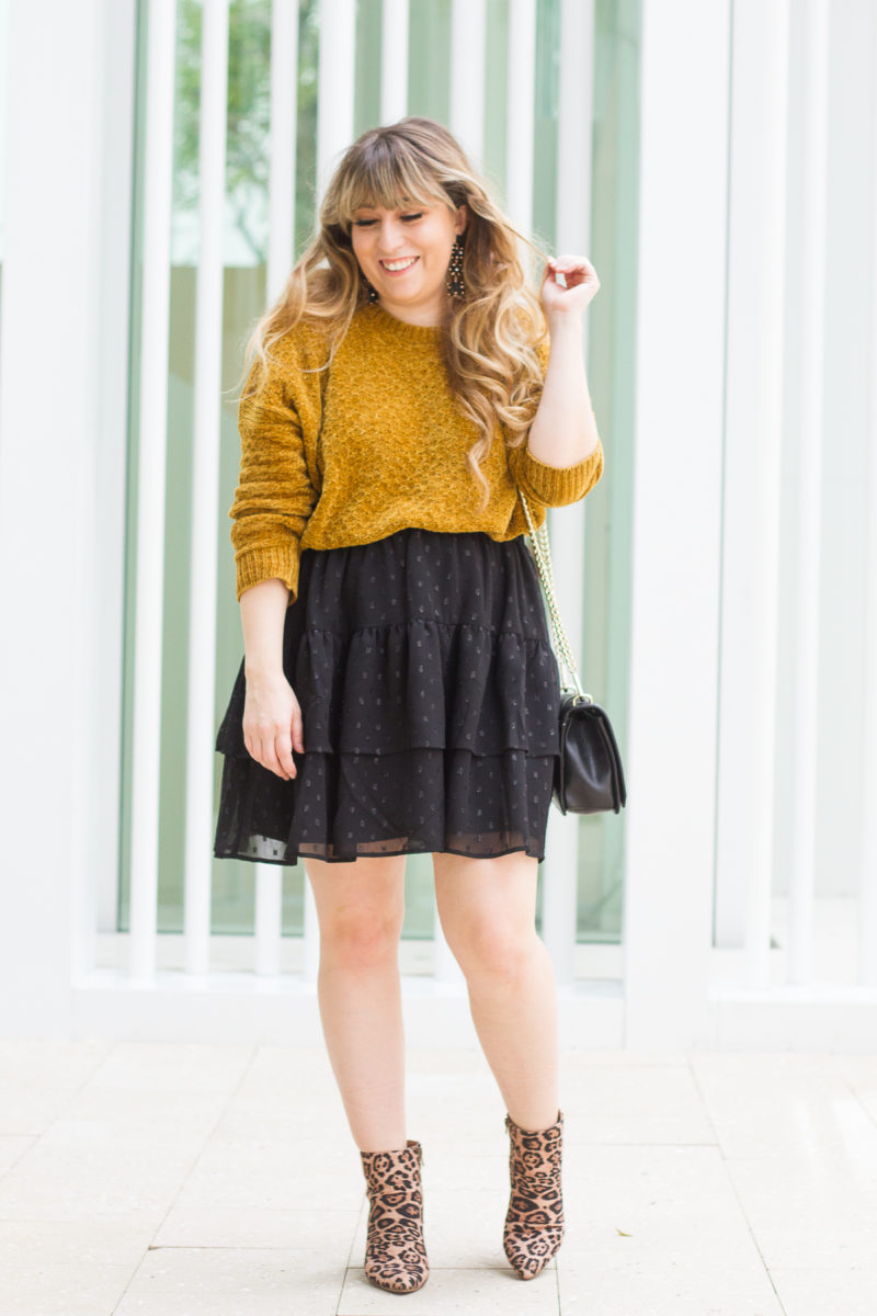 Chenille sweater outfit idea