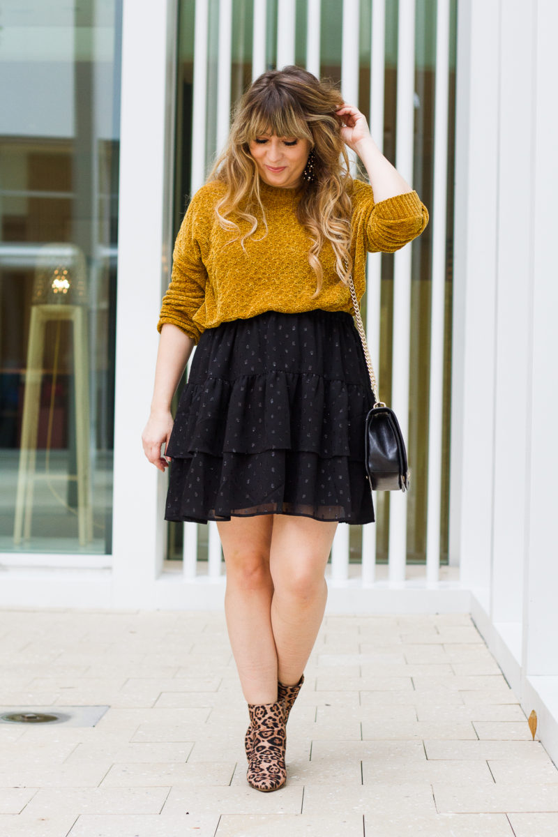 Skirt and booties outfit idea