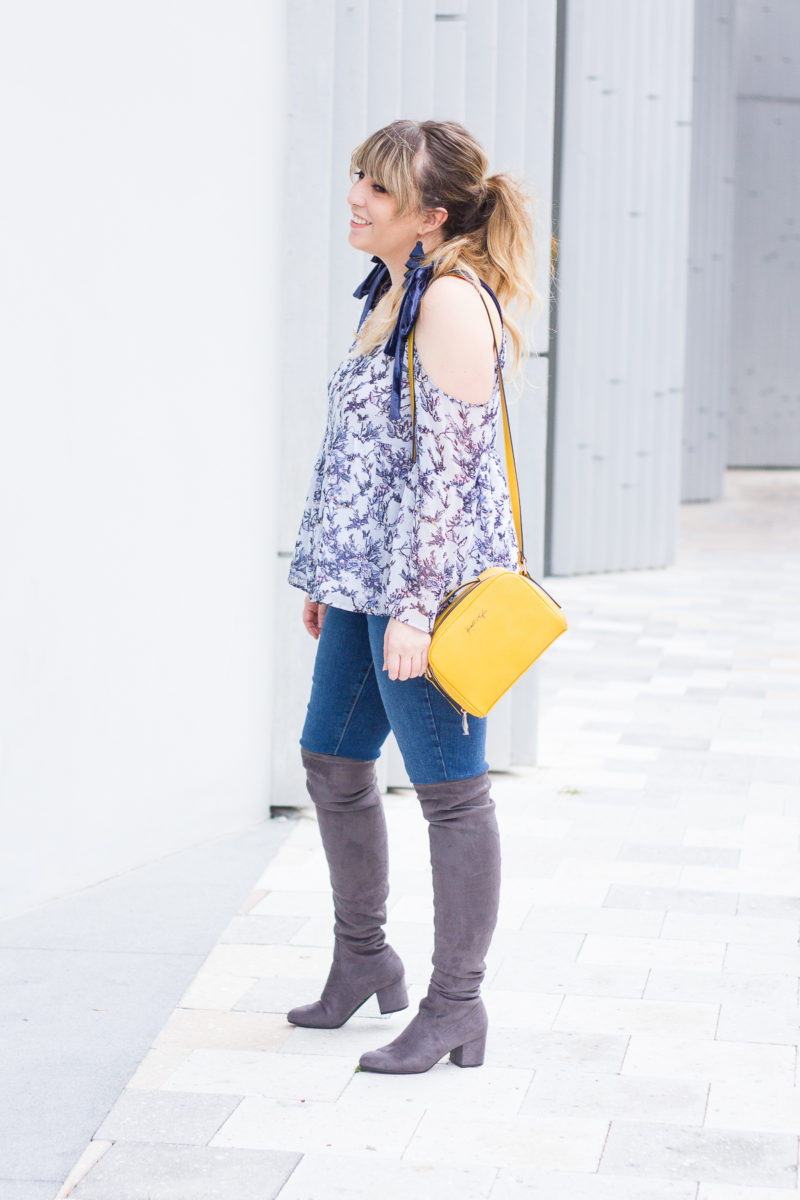 Casual floral top and jeans