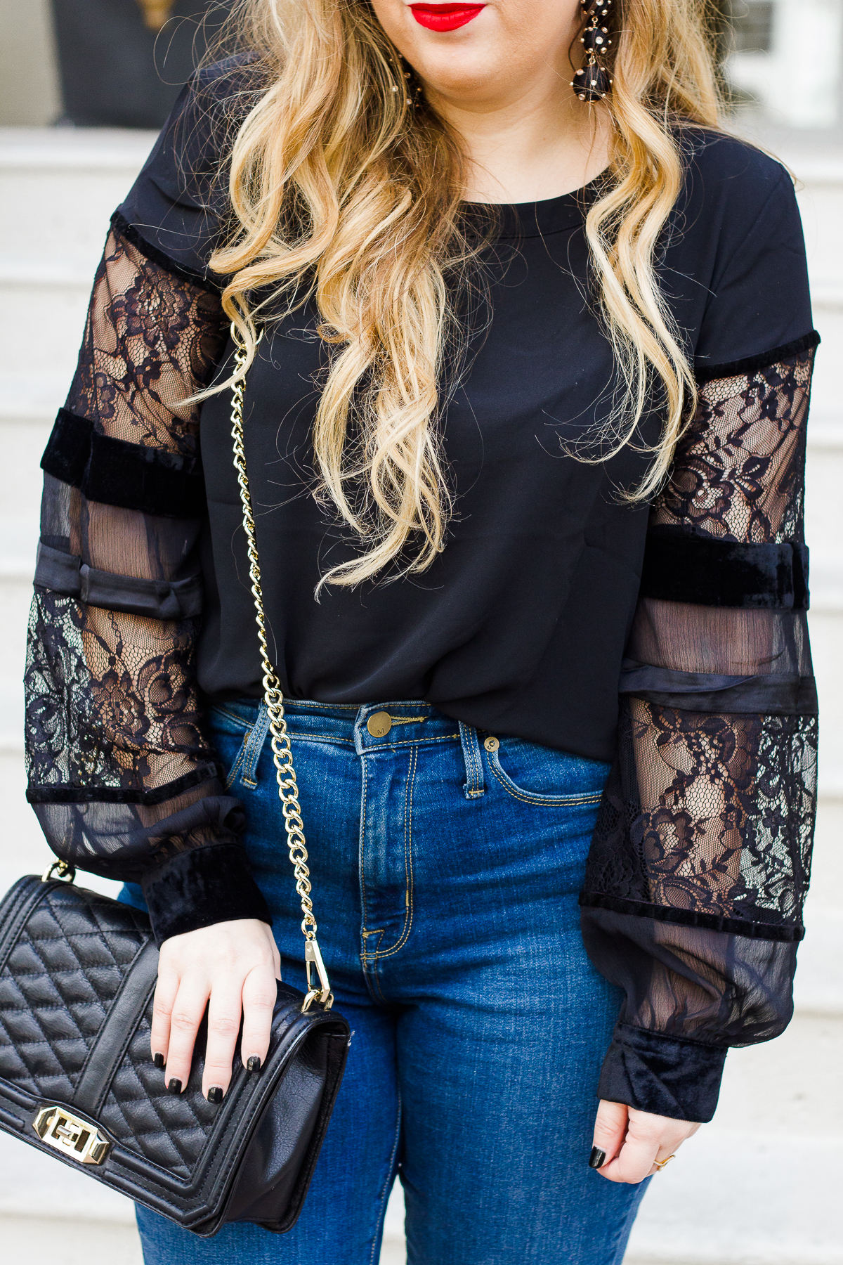 LOFT velvet and lace top and jeans-17