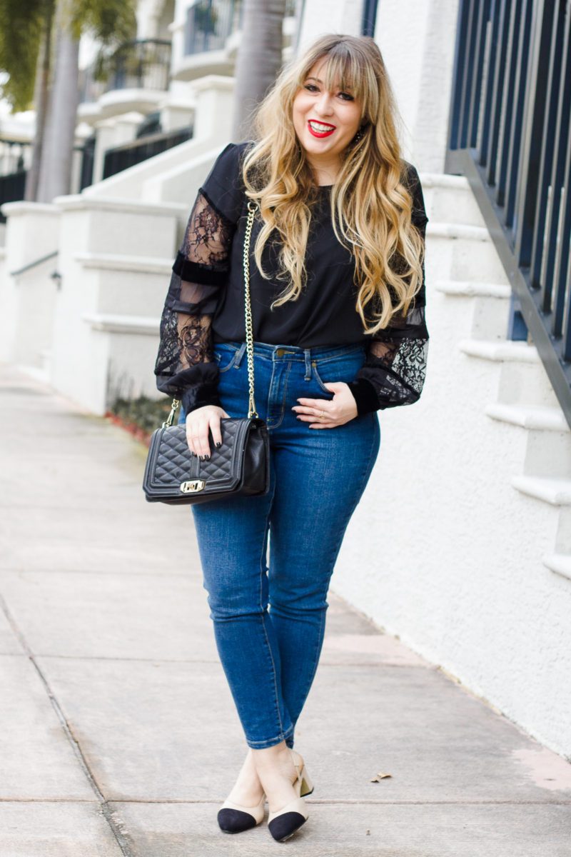 Casual outfit idea, velvet and lace top, LOFT top, high rise jeans, Chanel slingback dupe