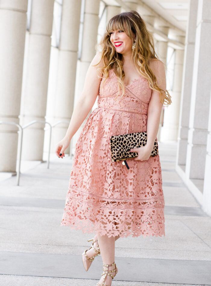 VValentine's Day dress – pink lace midi dress