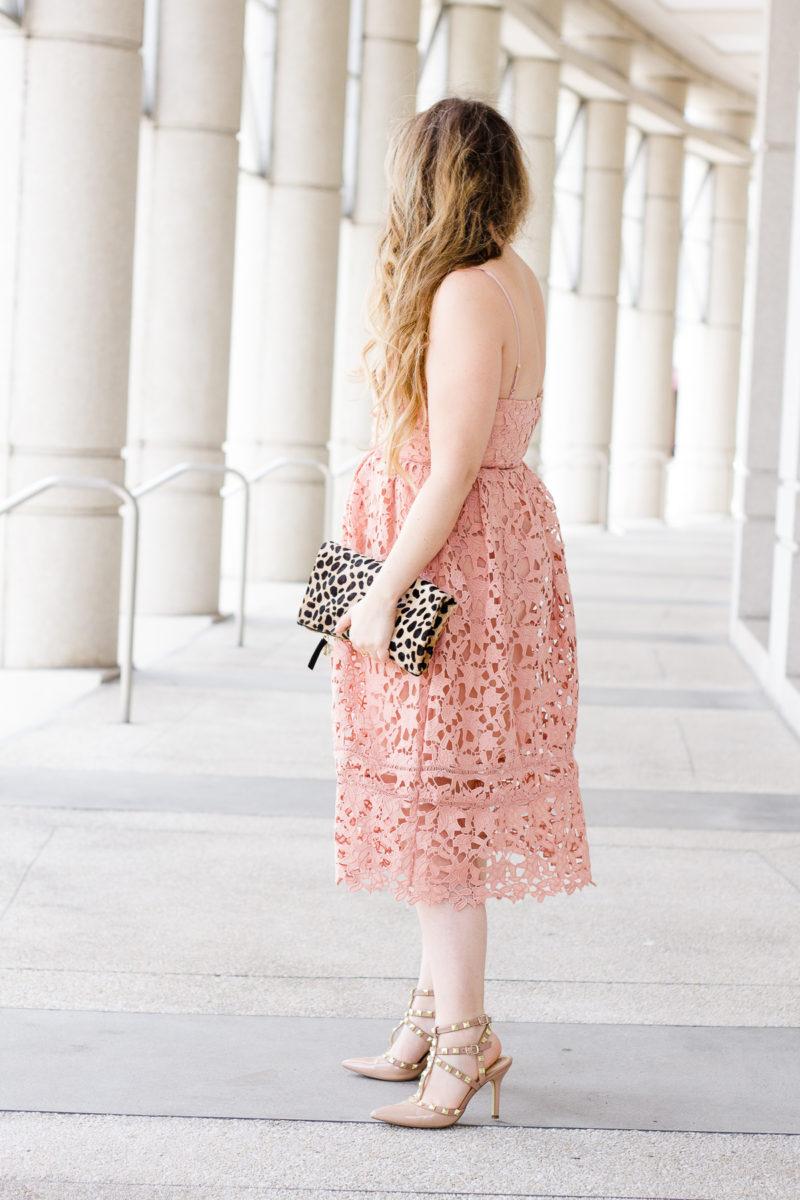 Valentine's Day dress - pink lace midi dress, pink lace dress, lace dress, valentine's day dress, affordable lace dress, affordable pink dress, midi dress, lace midi dress, leopard clutch, clare v leopard foldover clutch, clare v clutch, pearl earrings, baublebar earrings, valentino rockstud dupes, valentino rockstud lookalikes
