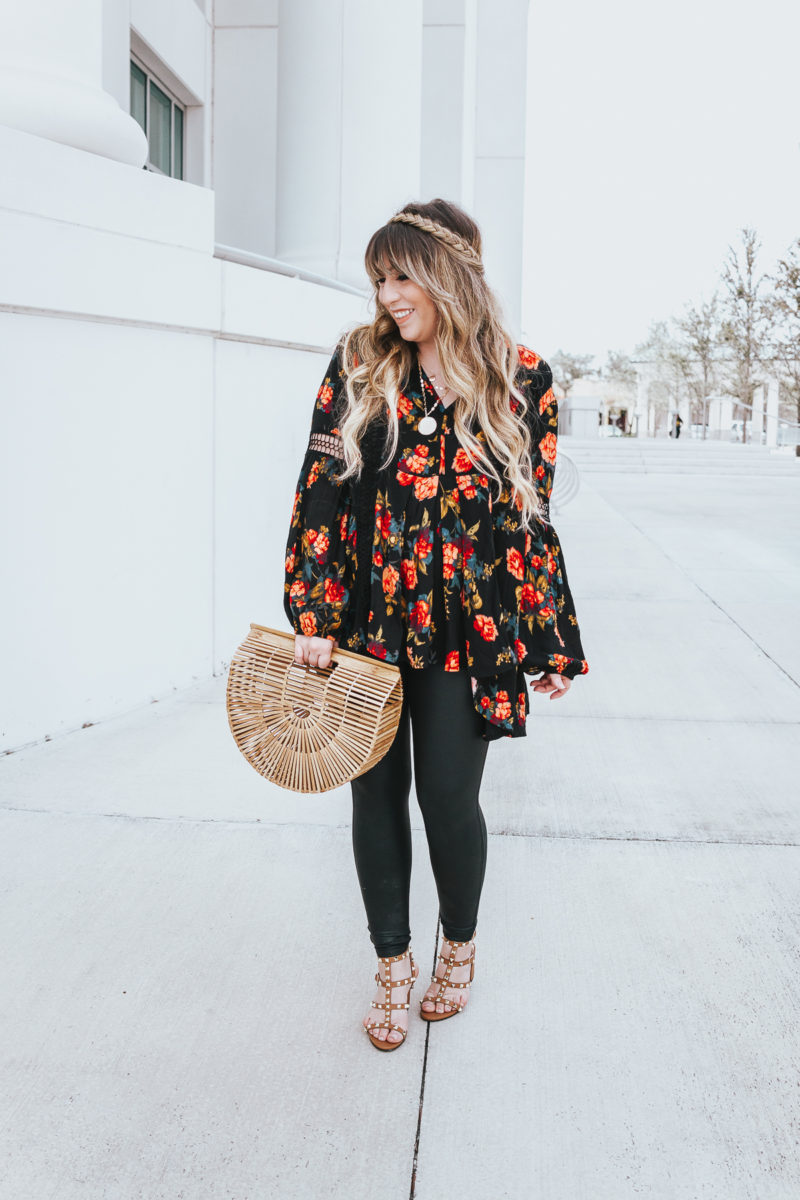 Floral tunic top + leather leggings outfit
