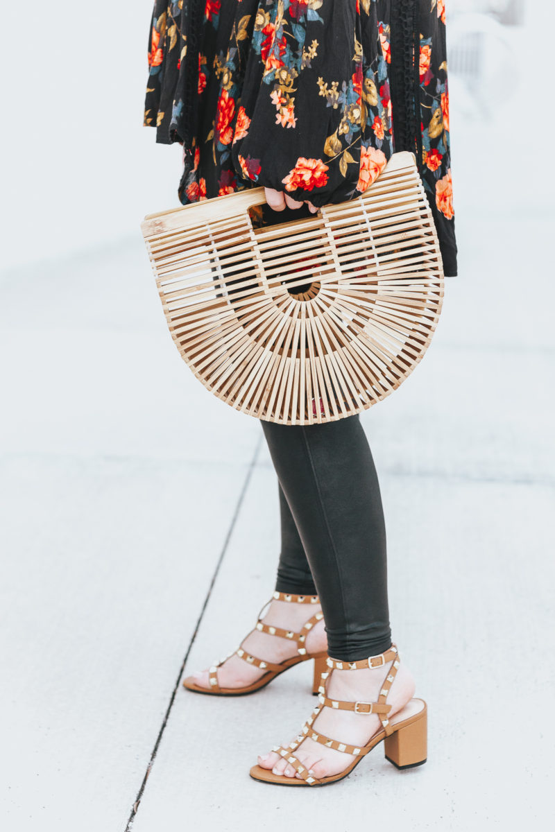 Bamboo bag and studded sandals