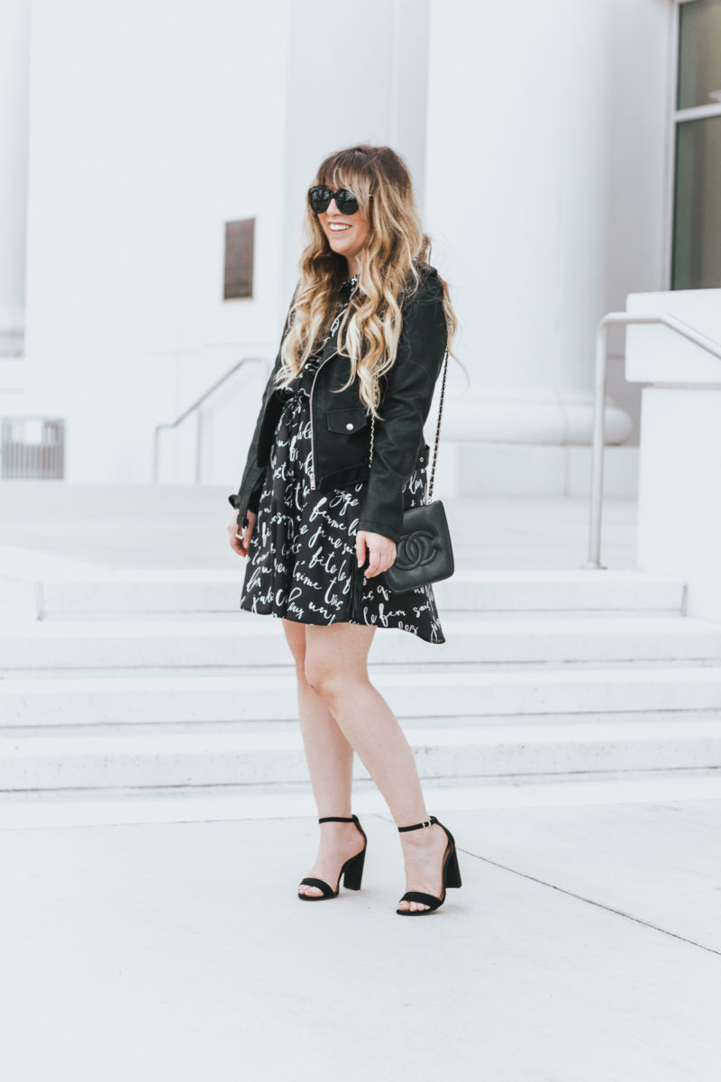Workwear: shirtdress and leather jacket outfit