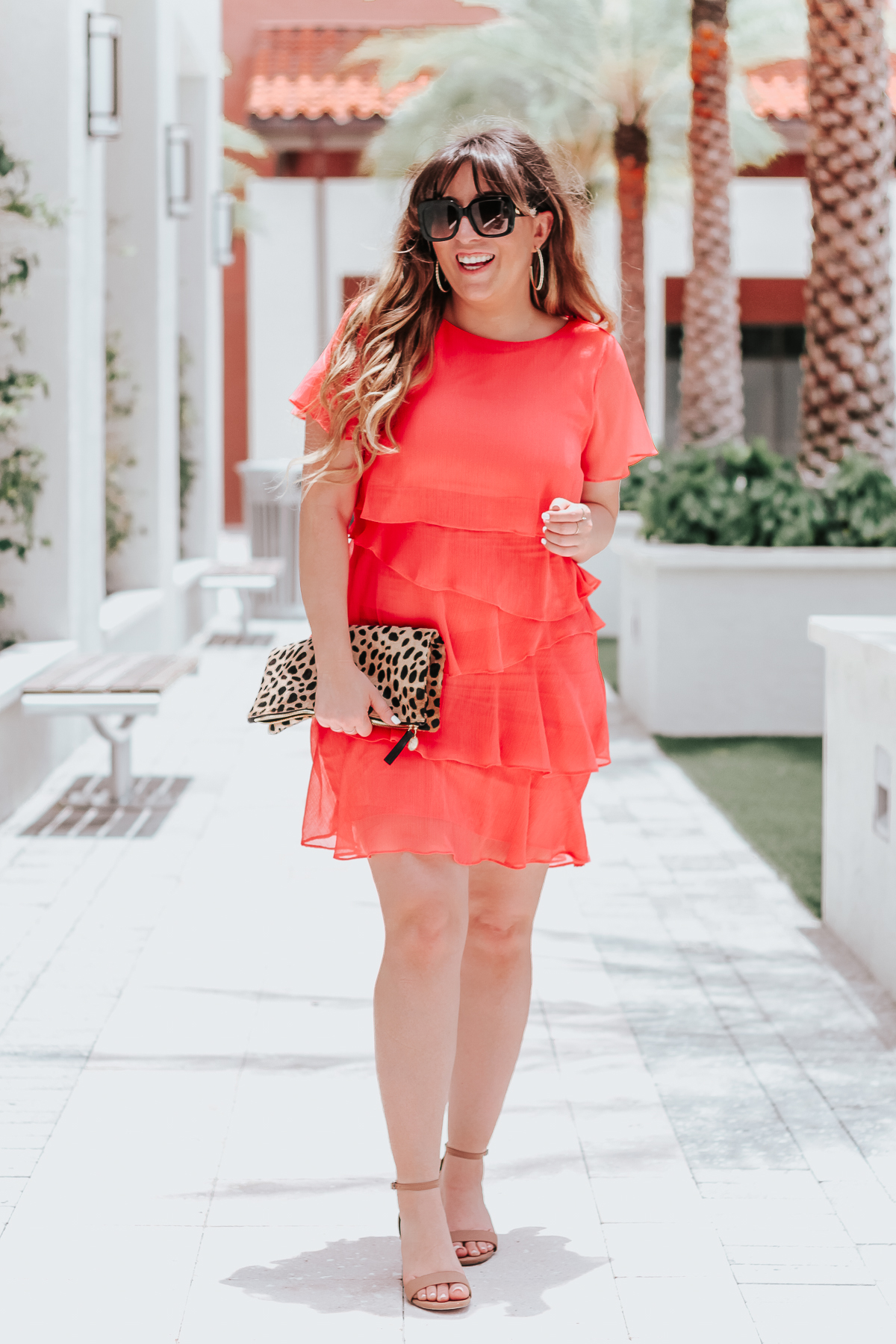 Coral dress: bold coral ruffle minidress for summer