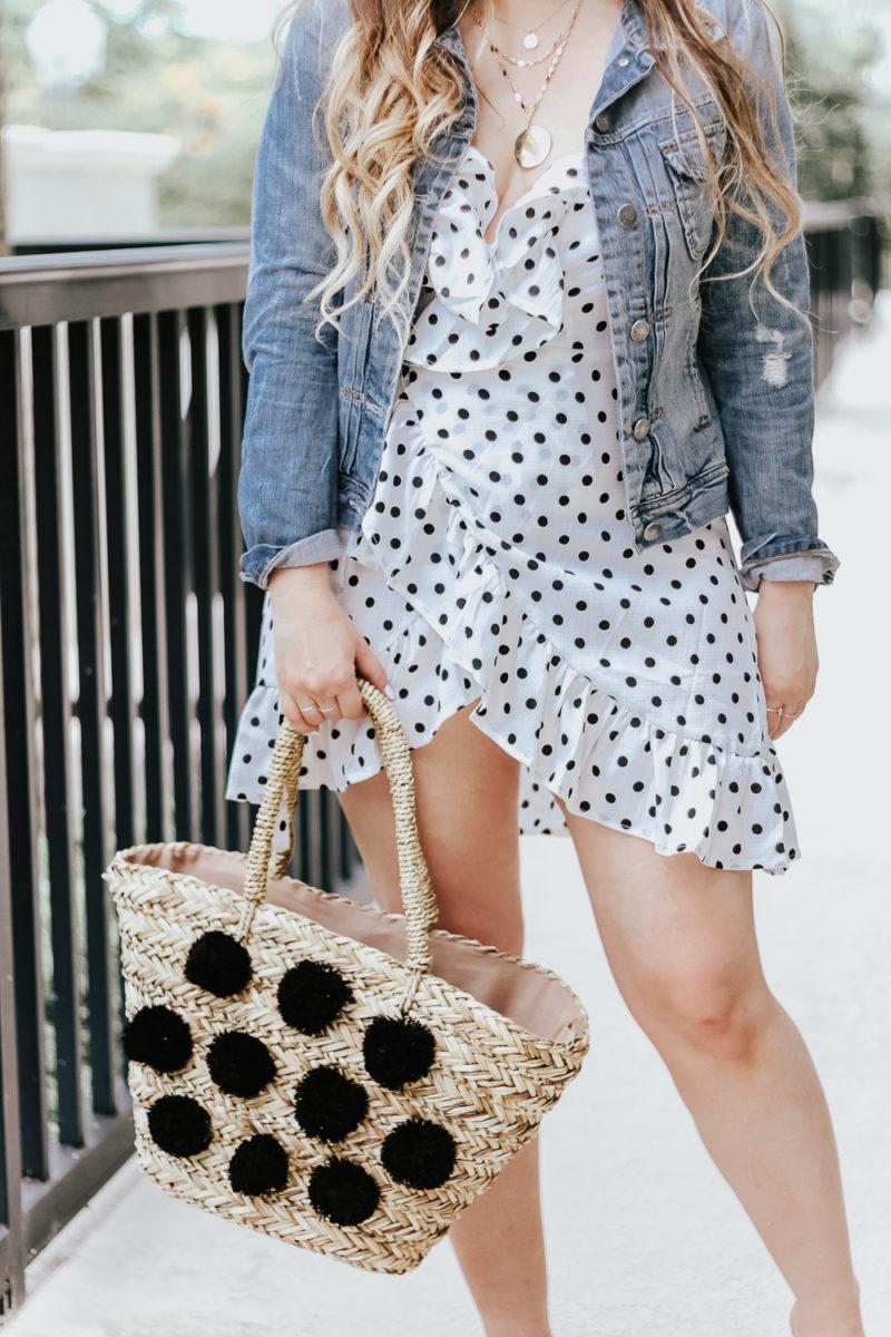 Polka dot wrap dress outfit + jean jacket-14