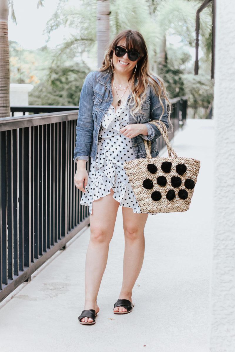 Polka dot wrap dress outfit + jean jacket-3