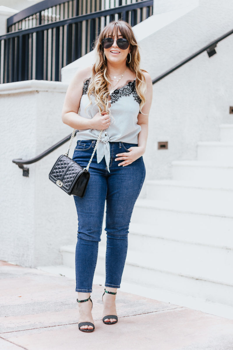 Stripe tie top + jeans casual summer outfit-2