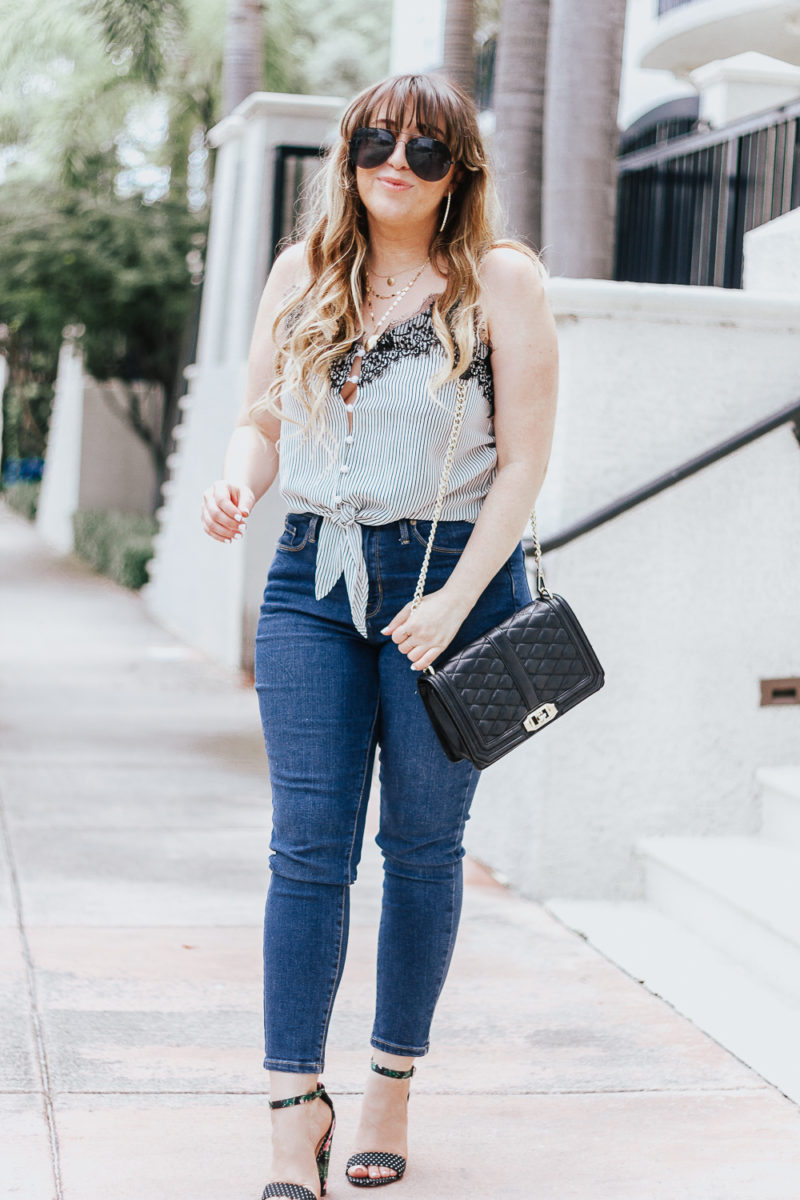 Stripe tie top + jeans casual summer outfit-3