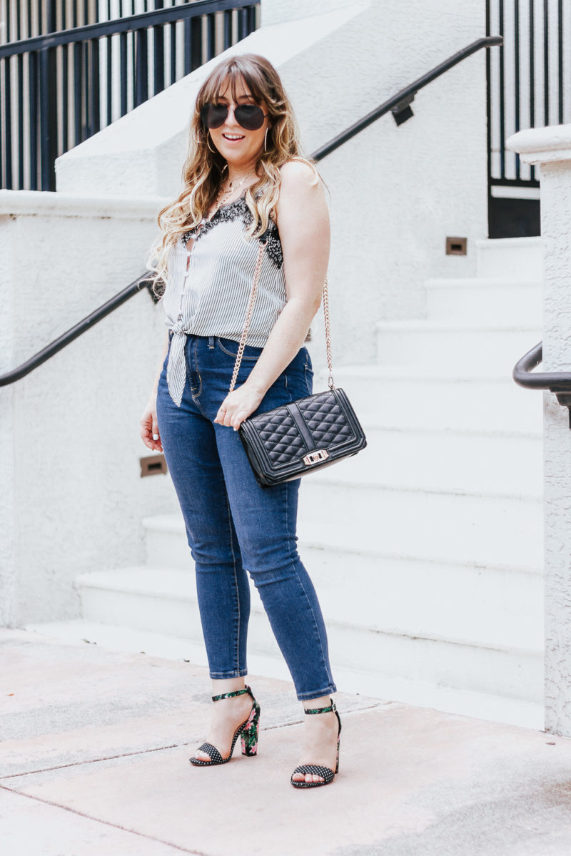 Stripe tie top + jeans casual summer outfit-4