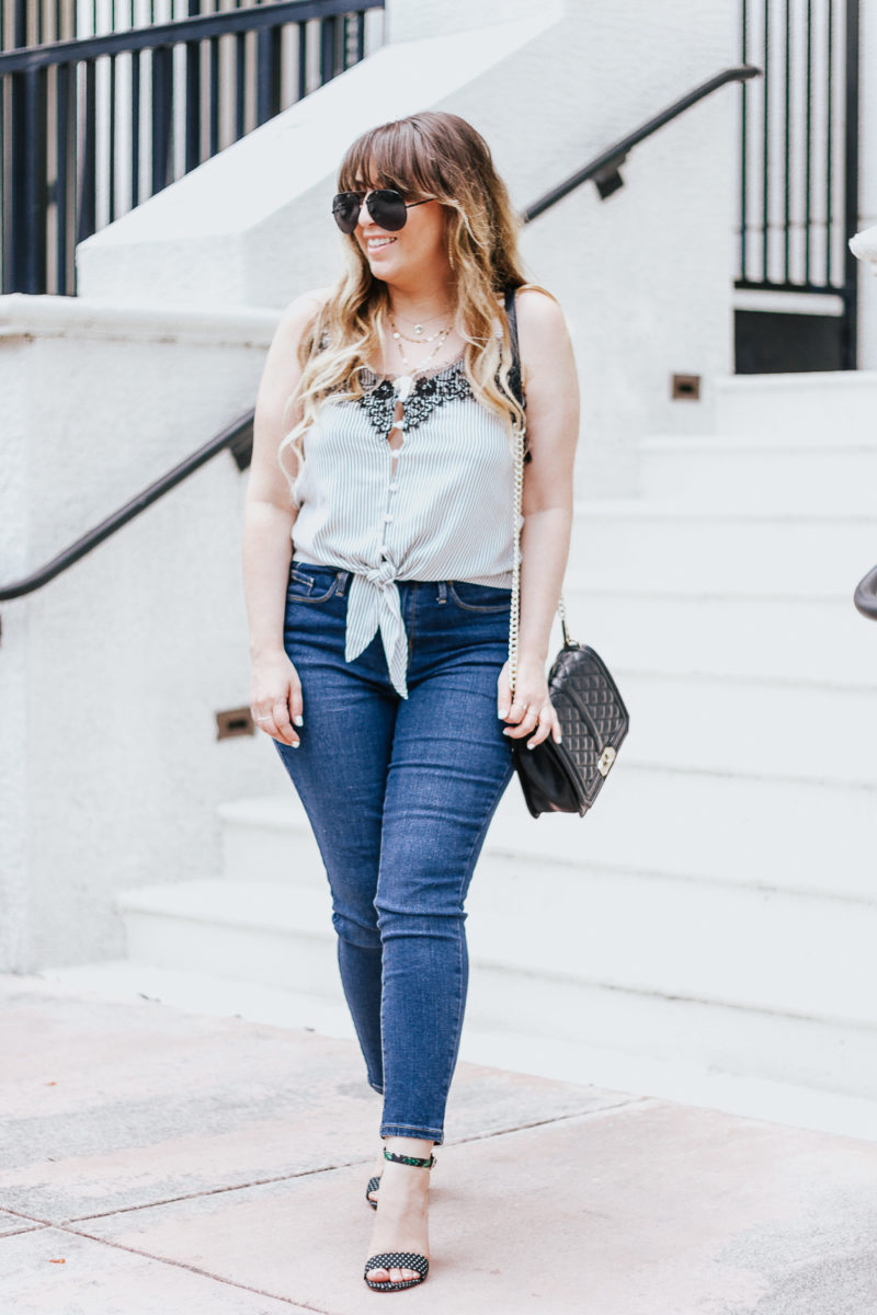 Stripe tie top + jeans casual summer outfit-5