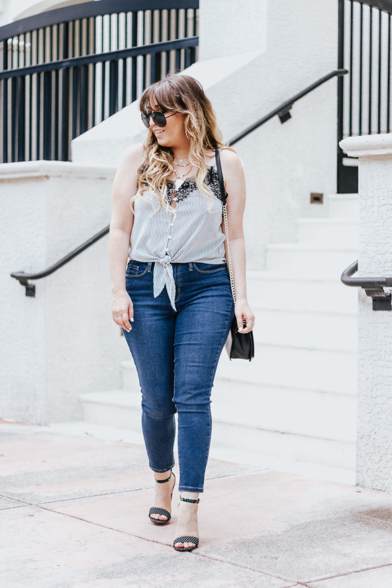 Stripe tie top + jeans casual summer outfit-6