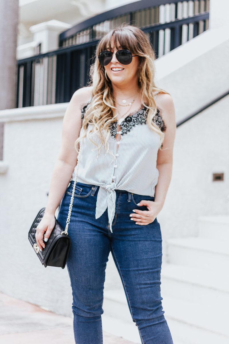 Stripe tie top + jeans casual summer outfit-7