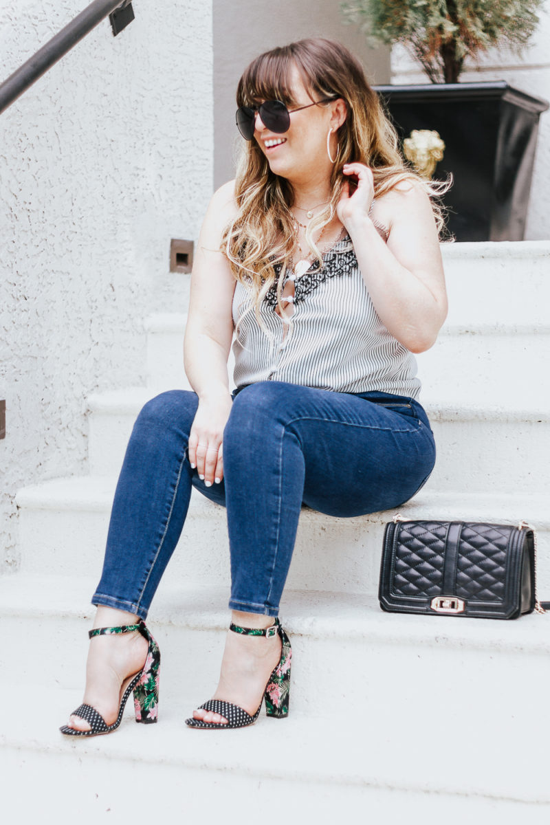 Stripe tie top + jeans casual summer outfit-8