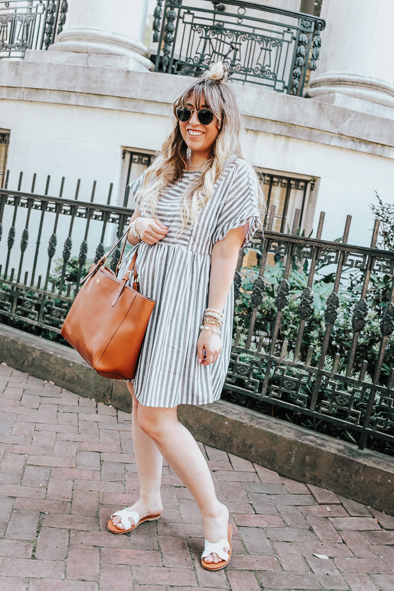 Easy gray striped dress for summer-12