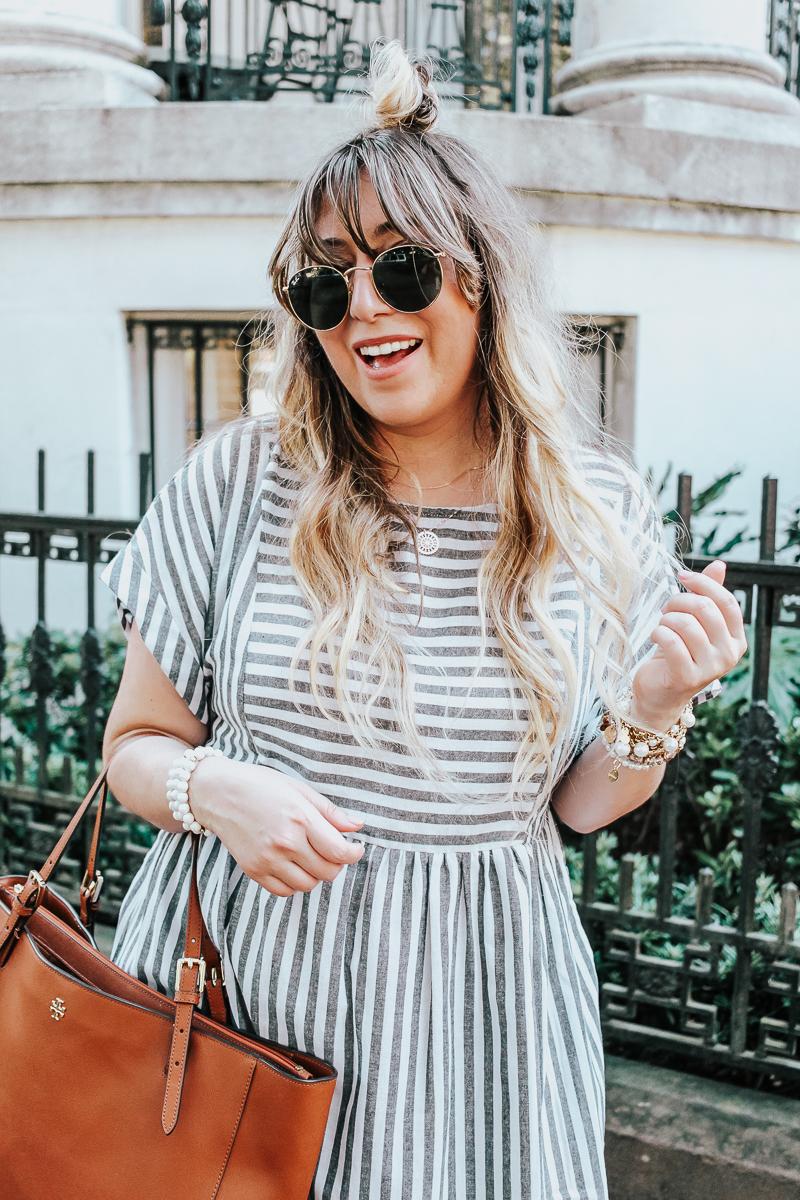 Easy gray striped dress for summer-13
